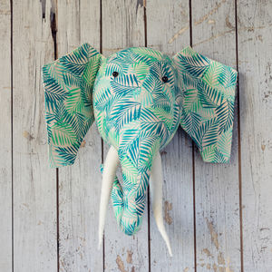 Green Leaf Print Elephant Head Wall Hanging