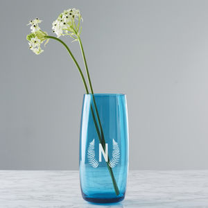 Personalised Botanical Initial Coloured Vase - flowers, plants & vases