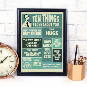Ten Things I Love About You, Personalised Print For Him