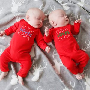 'Loves' Twin Baby Rompers - gifts for little siblings