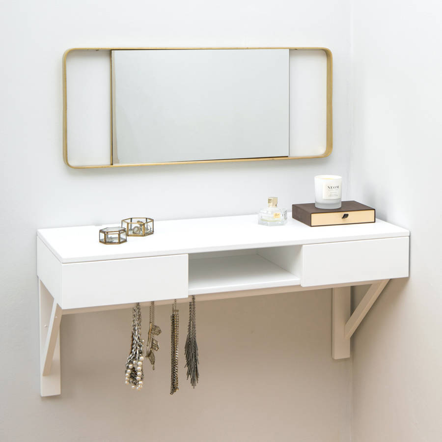 Floating dressing table with drawers and jewellery rail by for Vanity dressing table