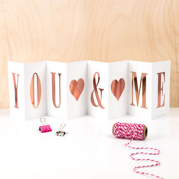 Love Card 'You And Me' Foil Concertina Card