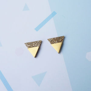 Dip Studs Gold Glitter - earrings