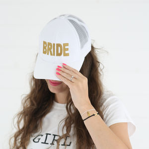 White Bride Baseball Cap | Metallic Gold Detail