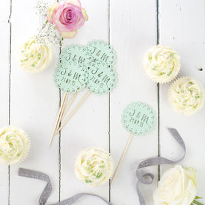 Set Of 12 Laser Cut Initials Cupcake Toppers - baking