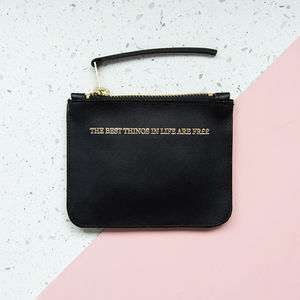Purse In Black Leather With Gold Embossed Slogan