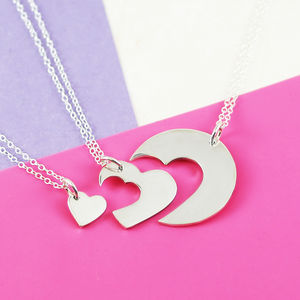 Silver Triple Heart Mother's Day Necklace Set