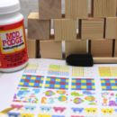 New Baby Wooden Block Craft Party Set