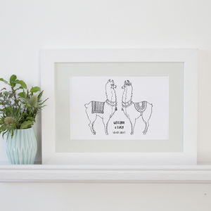 Personalised Llama Love Art Print - new in prints & art