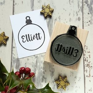 Personalised Bauble Christmas Rubber Stamp