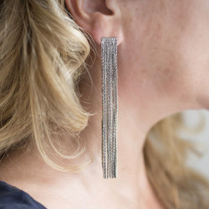 Long Silver Multi Strand Statement Earrings - summer sale