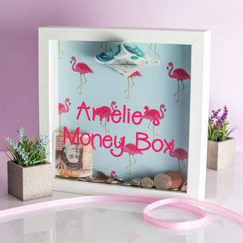 Personalised Flamingo Print Money Box Frame