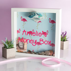 Personalised Flamingo Print Money Box Frame - money boxes