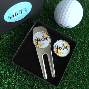 Personalised Flower Golf Tool And Ball Marker Set