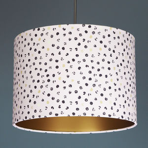 Blush Gold And Black Spot Drum Lampshade - office & study