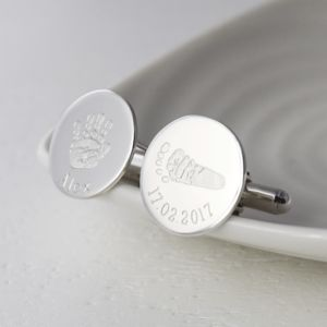 Engraved Handprint And Footprint Disc Cufflinks
