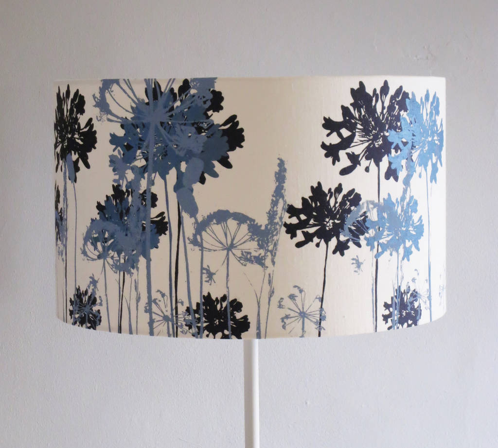 White Floral Printed Lampshade Navy And Pale Blue By Emma Purdie