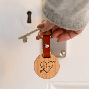 Personalised Carved Heart Keyring For Couples