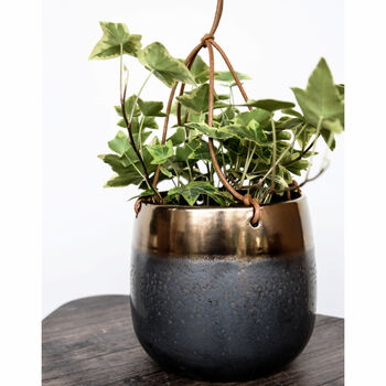 Bronze Metallic Glaze Hanging Planter