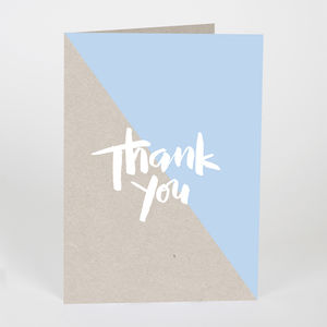 Thank You Kraft Card Blue - thank you cards