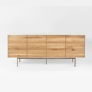 Marble Effect, Oak And Copper Sideboard