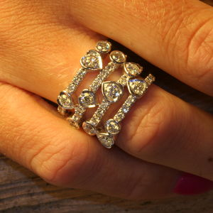 Waterfall Design White Gold Diamond Ring - rings