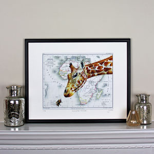 Giraffe And Bee On Map Of Africa Print - limited edition art