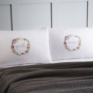 Floral Personalised Pillowcases - best wedding gifts