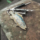 Men's Leather Key Ring Padded Trout Fish