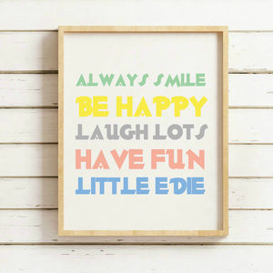 Colourful Personalised 'Always Smile' Quote Print - baby's room