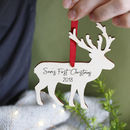 First Christmas Reindeer Wooden Hanging Decoration