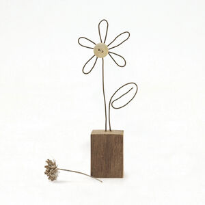 Wire Flower In Wood Block