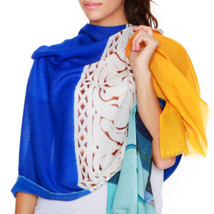 Womens Printed Cashmere Silk Scarf, Jardin Majorelle - scarves