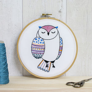 Owl Contemporary Embroidery Craft Kit - sewing & knitting