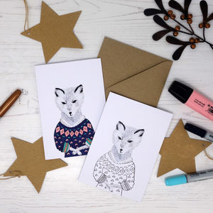 Colour Me In Jumper Arctic Fox Card