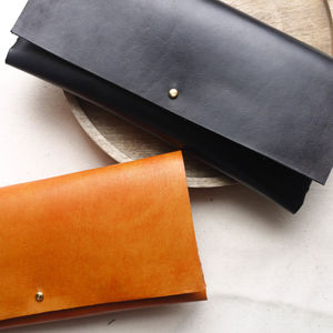 Leather Interlocking Clutch Bag - womens