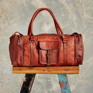 Large Brown Leather Holdall Zipped Pockets - travel & luggage
