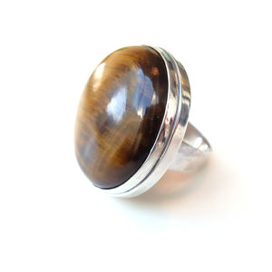 Large Tigers Eye Gemstone Ring Set In Sterling Silver