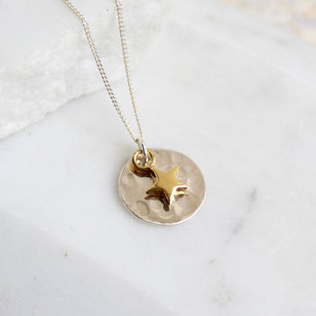 Hammered Silver Pendant With Gold Star