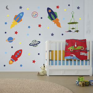 Space Rockets Wall Stickers - baby's room