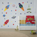 Thumb space rockets wall stickers