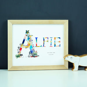 Personalised Wildlife Name Print - baby's room