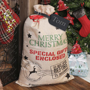 Large Personalised Christmas Hessian Gift Santa Sack - stockings & sacks