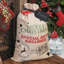Large Personalised Christmas Hessian Gift Santa Sack