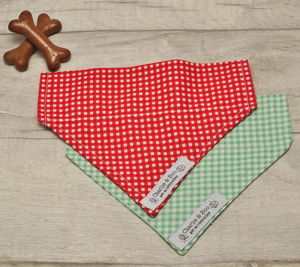 Green Or Red Gingham Dog Bandana