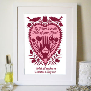 Personalised 'Hand In Heart' Print