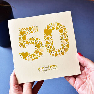 Personalised Love Hearts Gold 50th Anniversary Card