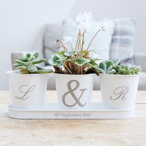 Personalised Initial Tray And Pots - 25th anniversary: silver