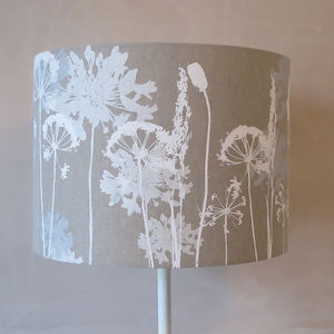 Floral Linen Lampshade White And Grey - living room