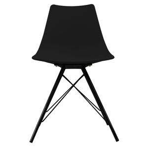 Black Oslo Chair With Black Metal Legs - dining chairs